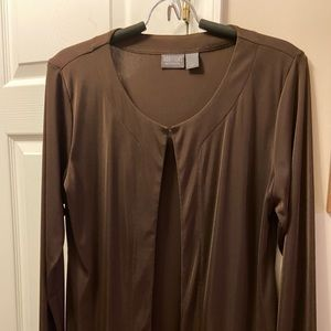 CHICO'S ADDITIONS SIZE 1 BROWN JACKET